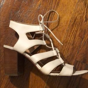 Coach Larissa Tie Up Chunky Heel Off-white 9.5